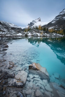 The filtered glacier water of Lake Lefroy, Yoho National Park, BC