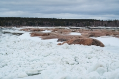 Ice jam at Pelican Rapids, Alberta, Canada