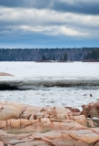 Frozen terrain along the Slave River, Pelican Rapids, Alberta, Canada