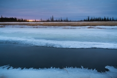 Icy river edges on the salt plains at sunrise, Wood Buffalo National Park, Alberta, Canada