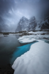 Eiffel Lake unfreezing in Spring, Banff National Park, AB, Canada
