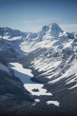Aerial Photo of Marvel Lake & Mt Assiniboine in winter, Banff National Park, AB, Canada