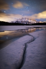 Mt Rundle under a starry Spring sky, Banff National Park, AB, Canada