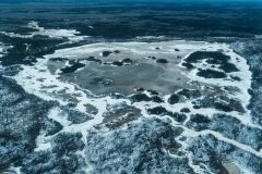 A large frozen lake from above, Wood Buffalo National Park, Alberta, Canada