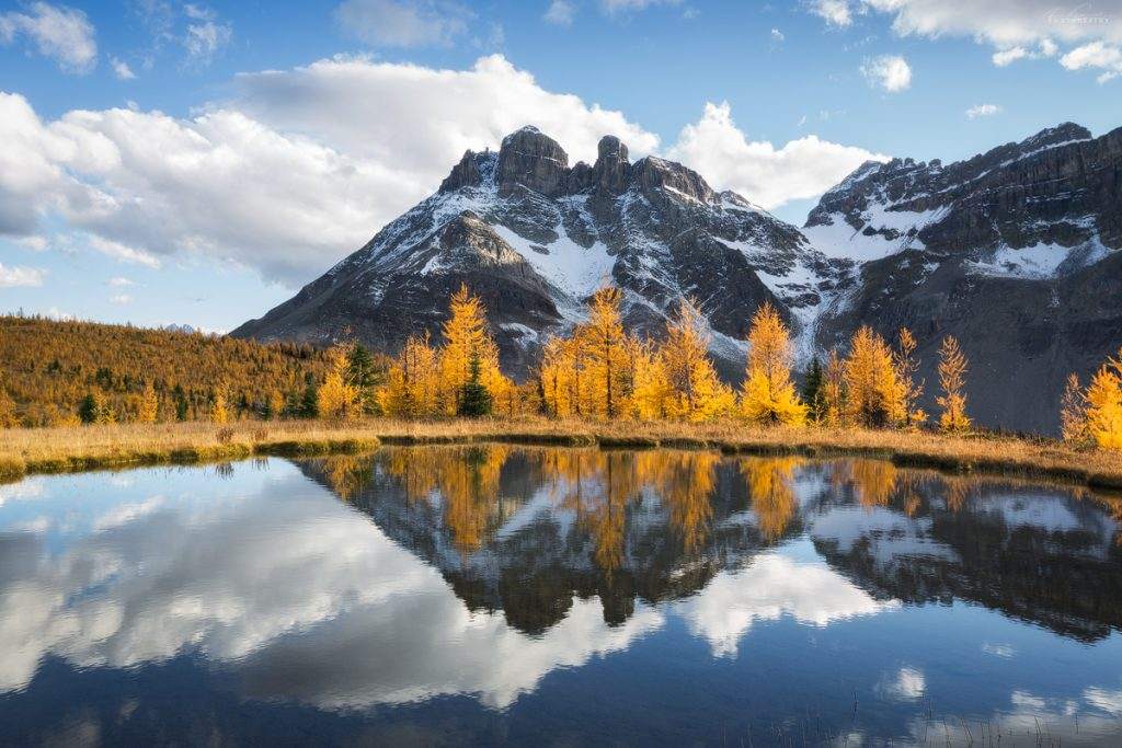 The Towers on a beautiful autumn weather day, Mt Assiniboine Provincial Park, BC, Canada