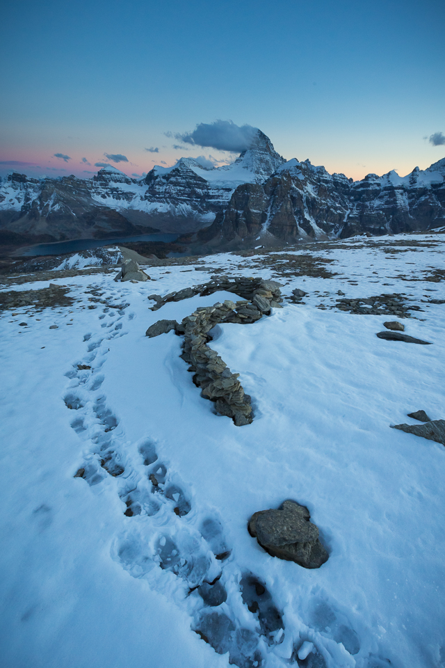 At the top of Nub Peak during blue hour with footprints in the snow and the belt of venus rising beyond Mt Assiniboine.