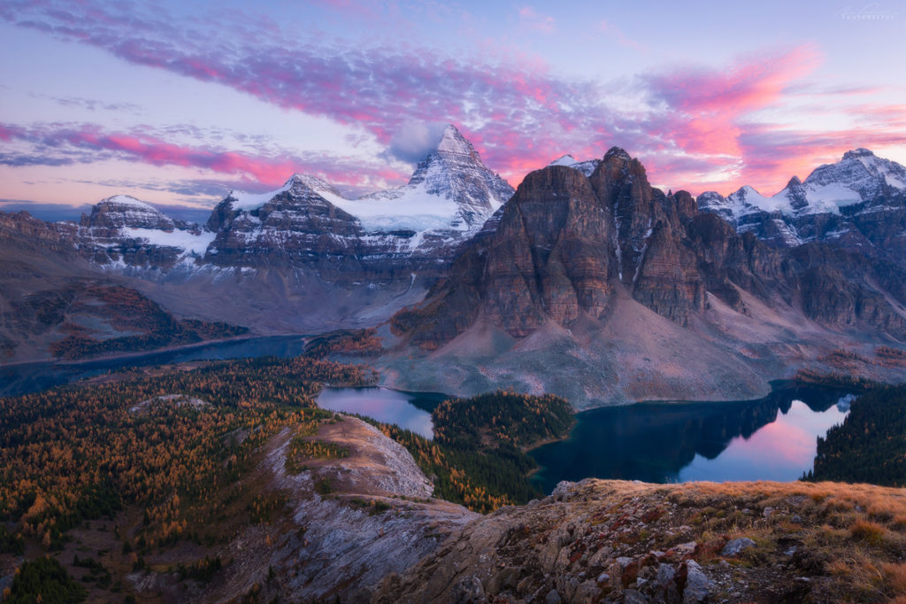 A colorful sunset from the Nublet in fall, Mt Assiniboine provincial pak, British Columbia, Canada