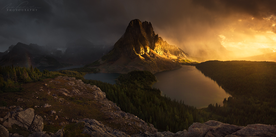 A clearing storm at sunset up on the Niblet provides for a dramatic panorama, Mt Assiniboine Provincial Park, British Columbia, Canada