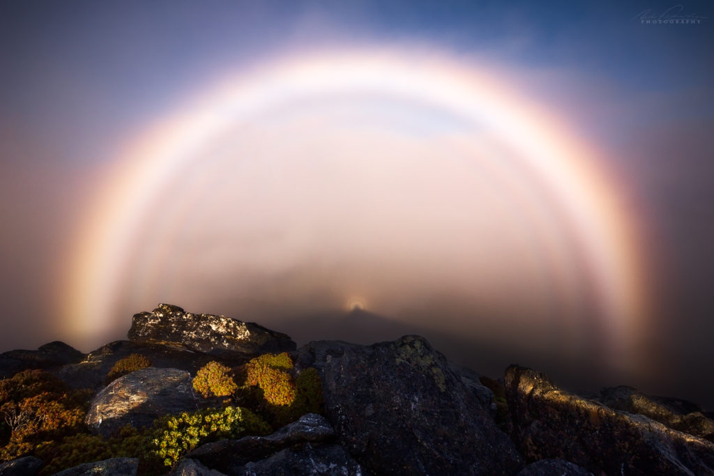 A Brocken Spectre in the Western Arthur Mountain Range in tasmania, one of many optical phenomenons that you should keep an eye out for when out photographing.