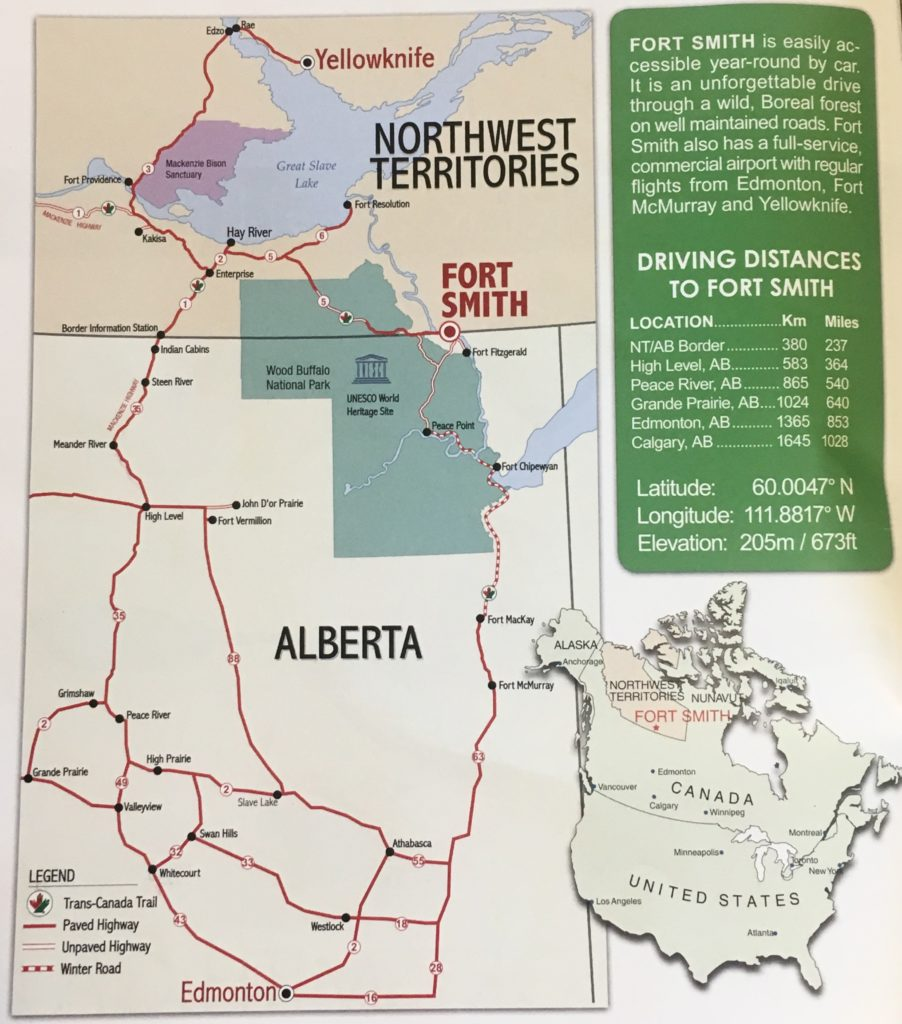 A driving map of how to get to Wood Buffalo National Park, Alberta, Canada
