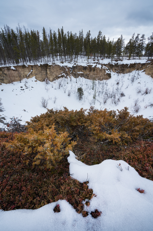 The snow covered sinkhole 'Angus', Wood Buffalo National Park, Northwest Territories, Canada