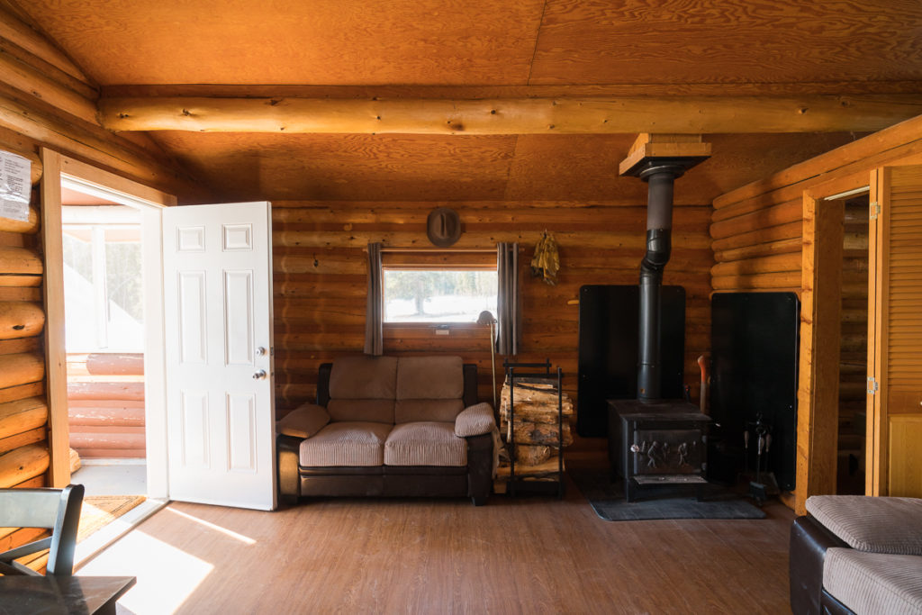 Interior of one of the cabins, Wood Buffalo National Park, Alberta, Canada