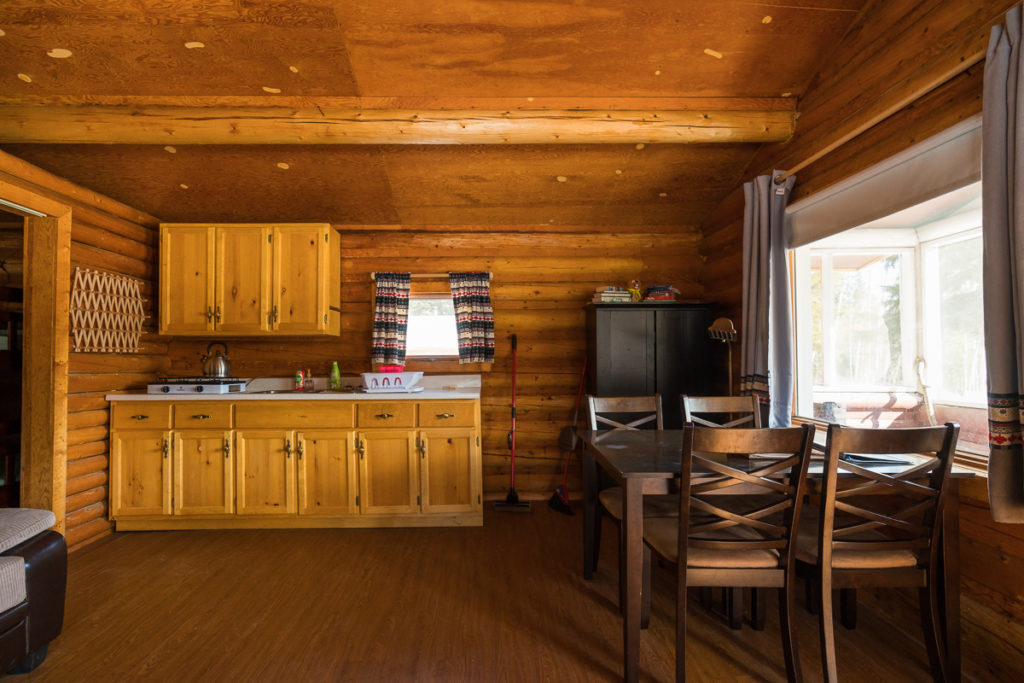 Interior of kitchen and dining area, Wood Buffalo National Park, Alberta, Canada
