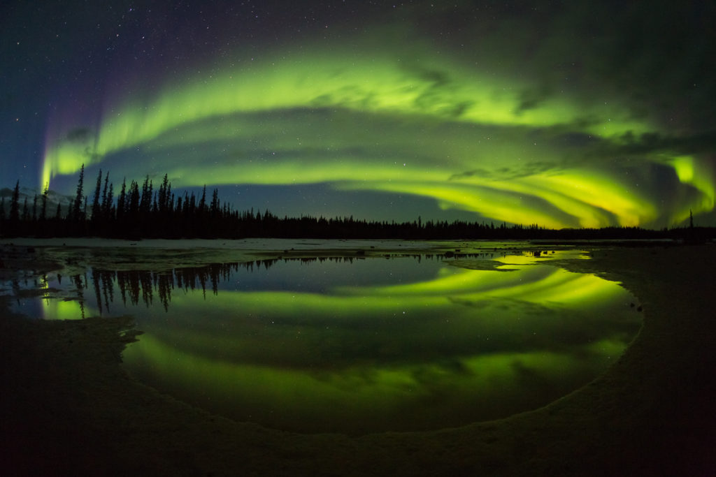 Aurora Borealis reflections at Grosbeak Lake, Wood Buffalo National Park, Alberta, Canada