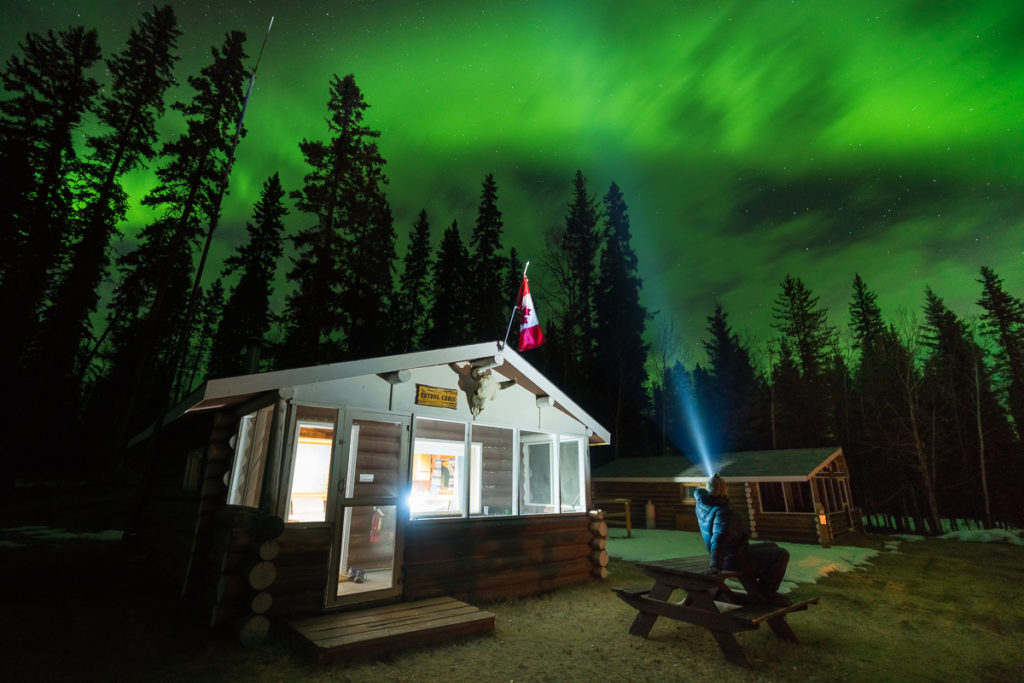 Aurora viewing beside the Patrol & Aurora cabins, Wood Buffalo National Park, Alberta, Canada