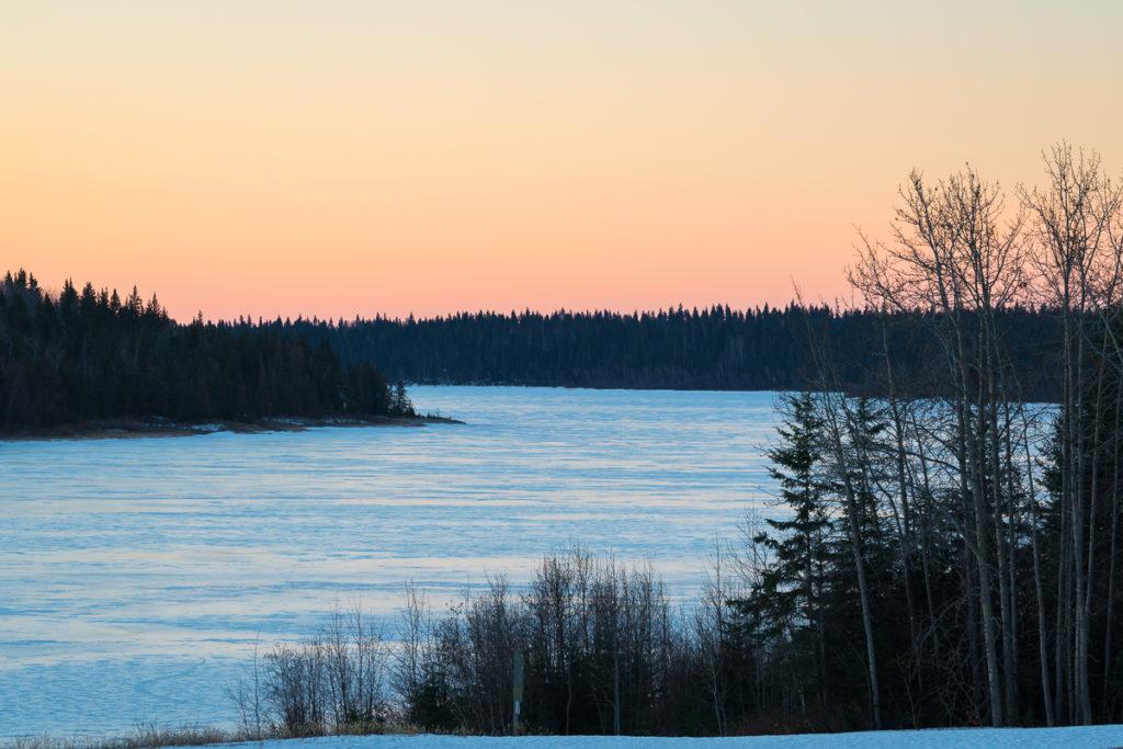 View of pine Lake from Patrol Cabin at sunrise, Wood Buffalo National Park, Alberta, Canada