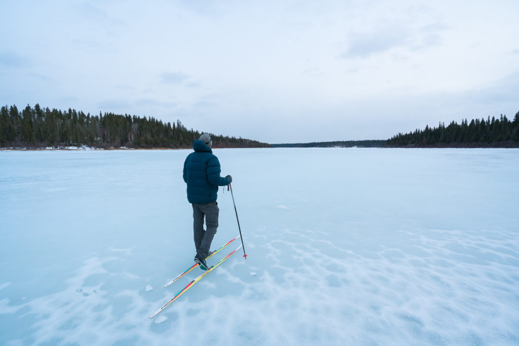 Cross Country Skiing at Pine Lake, Wood Buffalo National Park, Alberta, Canada