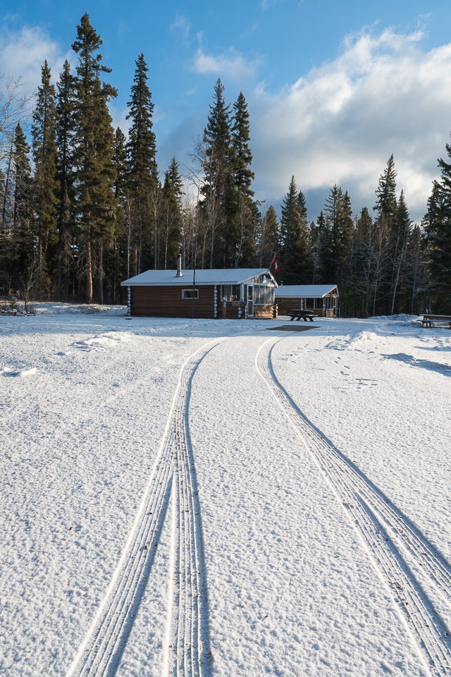 fresh snowfall overnight at the cabins on Pine Lake, Wood Buffalo National Park, Alberta, Canada