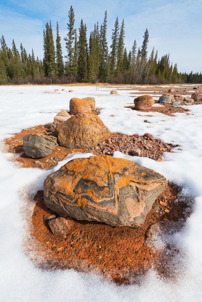 Glacial erratics in the snow on Grosbeak Lake, Wood Buffalo National Park, Alberta, Canada