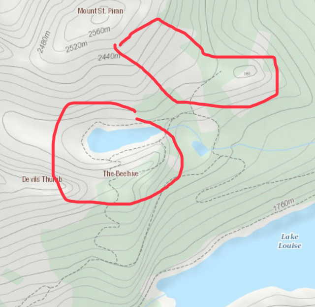 A map of some of the best locations to find alpine larch trees near Lake Louise - Big Beehive, Little Beehive and Lake Agnes