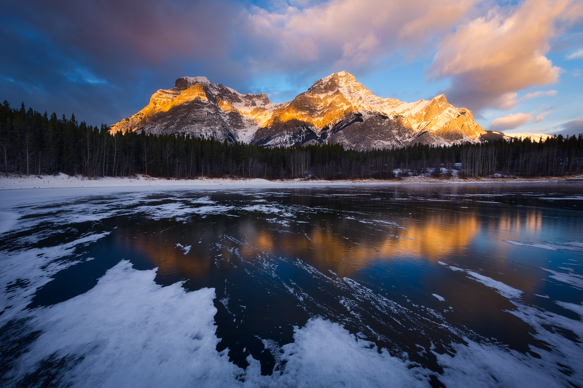 Mt Kidd at sunrise from Wedge Pond in Kananaskis, a great fall photography location near Banff National Park