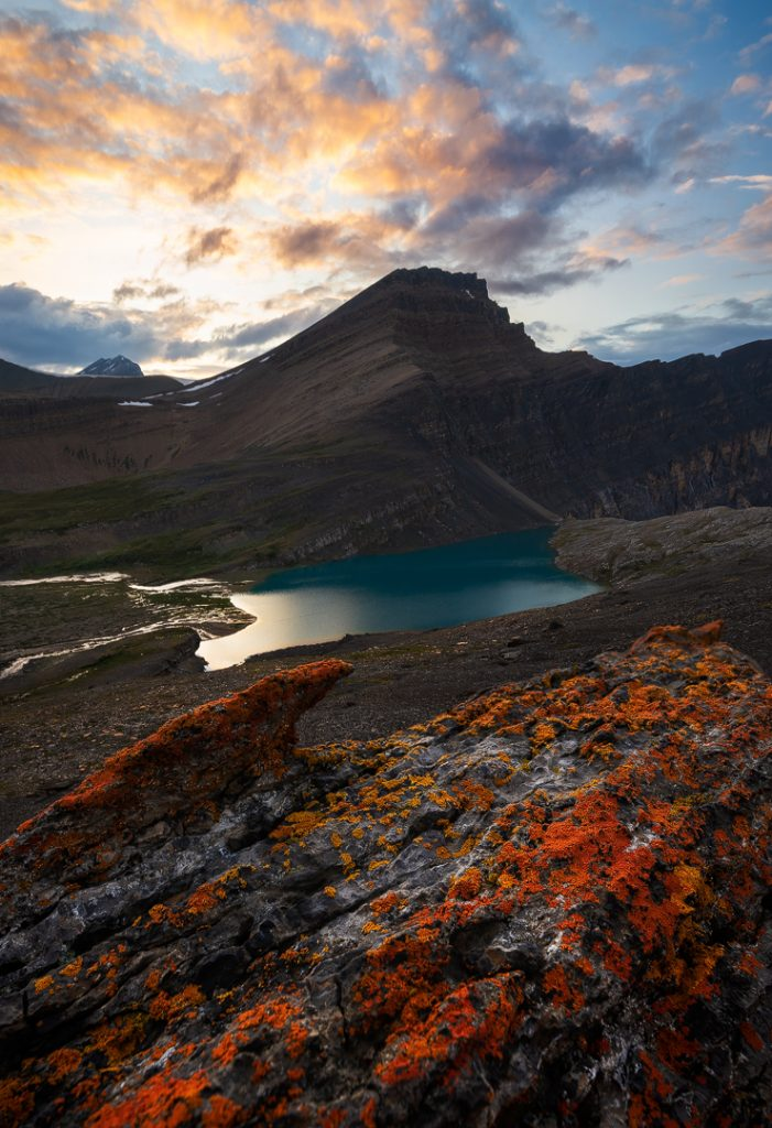 Sunset at Lower Michelle lakes with a gnarly lichen covered rock in the foreground, Alberta, Canada