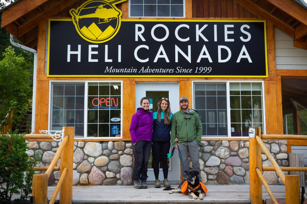 The group standing outside the front of Rockies Heli Canada heliport base pre flight