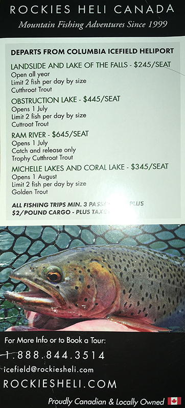 Back cover of a Rockies heli brochure with fishing tours and pricing
