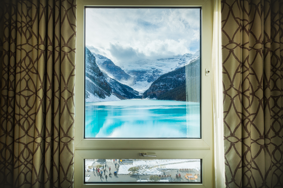 The view down lake Louise from one of the fairmont Chateau Lake Louise's rooms.