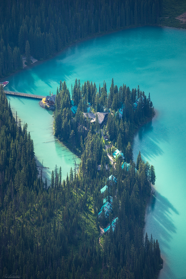 Emerald Lake Lodge and turquoise waters surrounding it from the summit of Walcott Peak