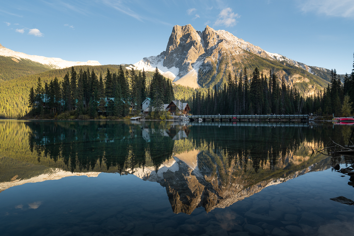 Sunset at Emerald lake Lodge on a clear day in Yoho National Park.