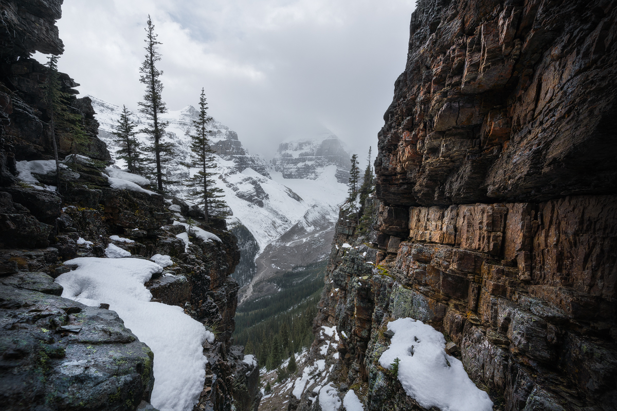 This image shows the descent route used on The Devils Thumb to avoid encountering a potential grizzly bear.